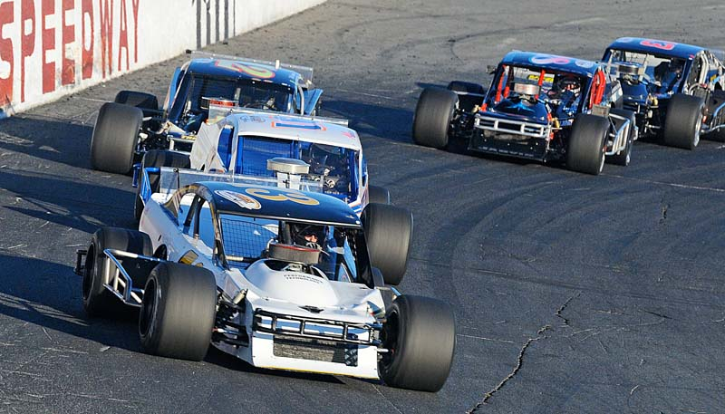OUT IN FRONT: Jon McKennedy leads the Modified Racing Series race at Seekonk (Mass.) Speedway on Saturday. (John DaDalt Photo)