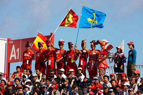 PONY PARTY: Fans show their support for Ferrari Sunday at Suzuka Int'l Racing Course. (Steve Etherington Photo)
