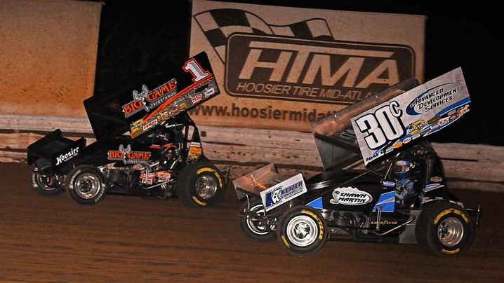 GOING FOR IT: Sammy Swindell (1) and Lance Dewease fight for track position Saturday at Williams Grove Speedway. (John DaDalt Photo)