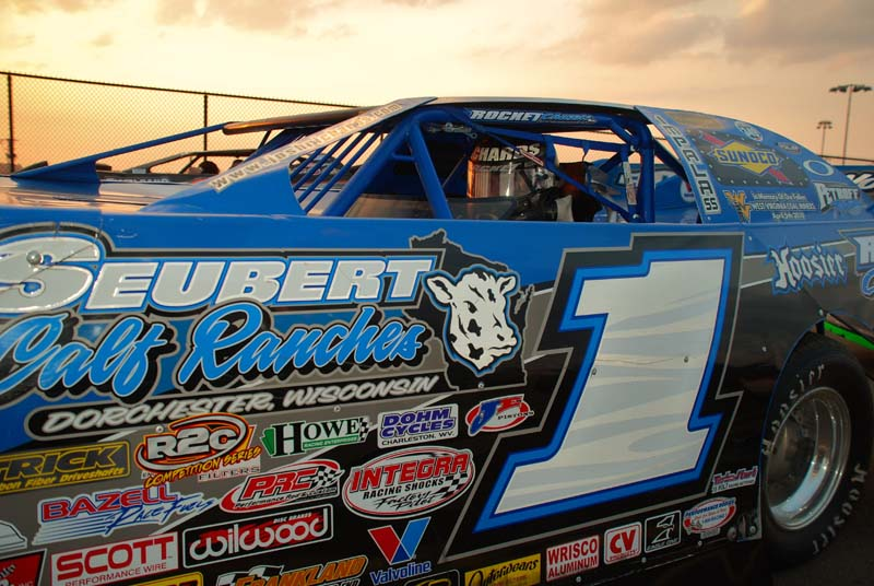 READY TO ROCK: Josh Richards sits aboard his Rocket prior to the Oct. 13 World of Outlaws Late Model Series Showdown at The Dirt Track @ Charlotte Motor Speedway. (Justin Leedy Photo)