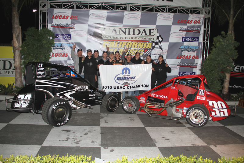 TITLE TIME: Bryan Clauson nabbed his second-straight Turkey Night Grand Prix Thursday in Irwindale, Calif., and in the process clinched the USAC Mopar National Midget Series championship, the USAC National Driver's Championship and the National Midget Driver of the Year award. Clauson drove the red No. 39 Beast midget Thursday at Irwindale, while he steered the black No. 39 in dirt competition this year.