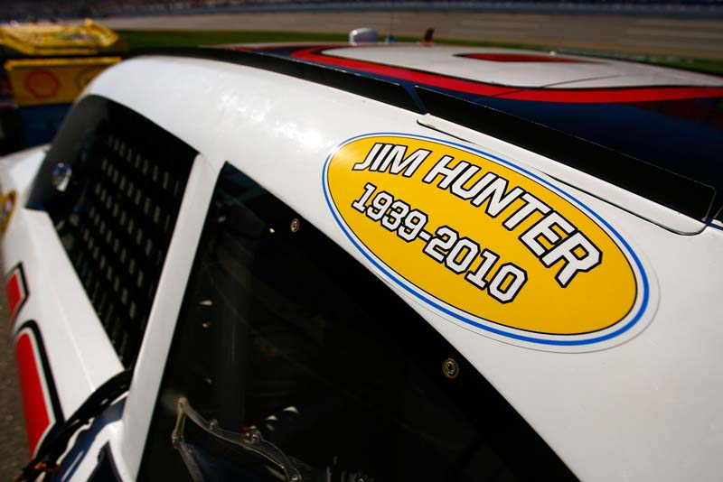 SHOW OF SUPPORT: NASCAR Sprint Cup Series cars sported decals remembering NASCAR Vice President of Corporate Communications Jim Hunter, who passed away Friday. (Jason Smith/Getty Images Photo)