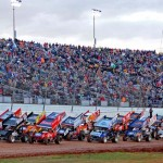 PACKED HOUSE: The World of Outlaws Sprint Car Series field takes the green flag for the first 25-lap feature Saturday afternoon. (Joe Secka/JMS Pro Photo)