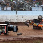WILD RIDE: Sammy Swindell (1) and Jac Haudenschild had a hard collision during the first feature Saturday afternoon. Both drivers walked away uninjured. (Joe Secka/JMS Pro Photo)