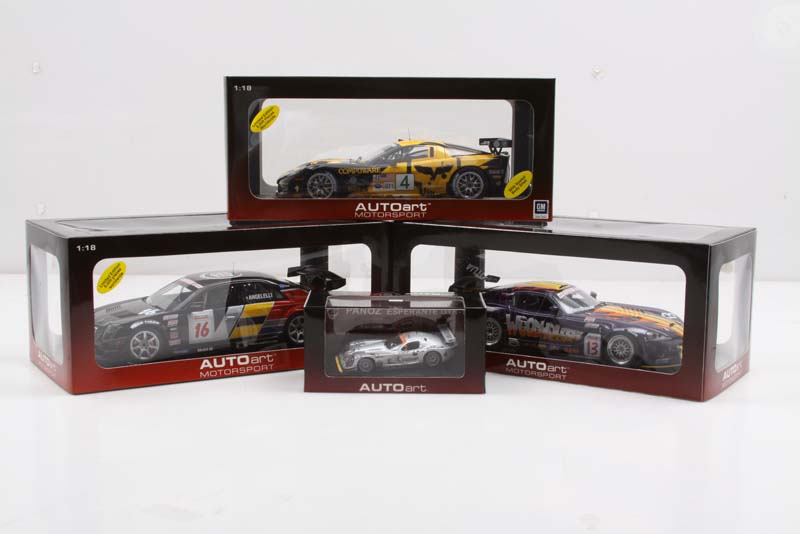 """Road racing aficionados will appreciate this four-car collection that includes beautifully detailed AutoArt diecast replicas of the most popular American marques to """"race on the twisties"""" in recent years."""