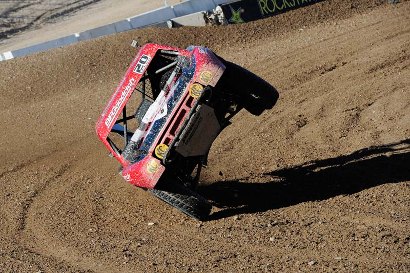 TWO WHEELIN': Matt Loiodice goes up on two wheels in the final turn of the Off Road Course Saturday at Las Vegas Motor Speedway in Las Vegas. (David Allio Photo)