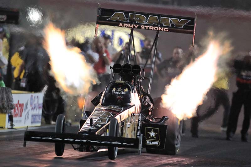 THE SARGE: Tony Schumacher launches his U.S. Army dragster off the starting line at The Strip at Las Vegas Motor Speedway. (Ted Rossino, Jr. Photo)
