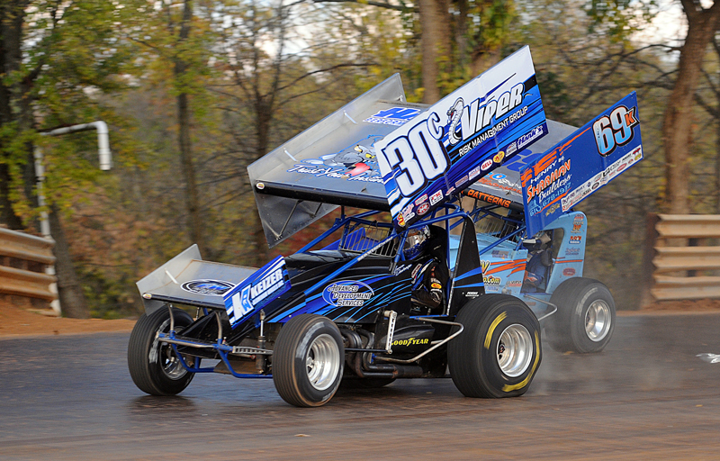 Spooktacular: Lance Dewease (30c) and Donnie Kreitz, Jr. race off turn two during the sprint-car portion of Sunday's 23rd annual Octoberfest 350 at Hagerstown (Md.) Speedway. (John DaDalt Photo)