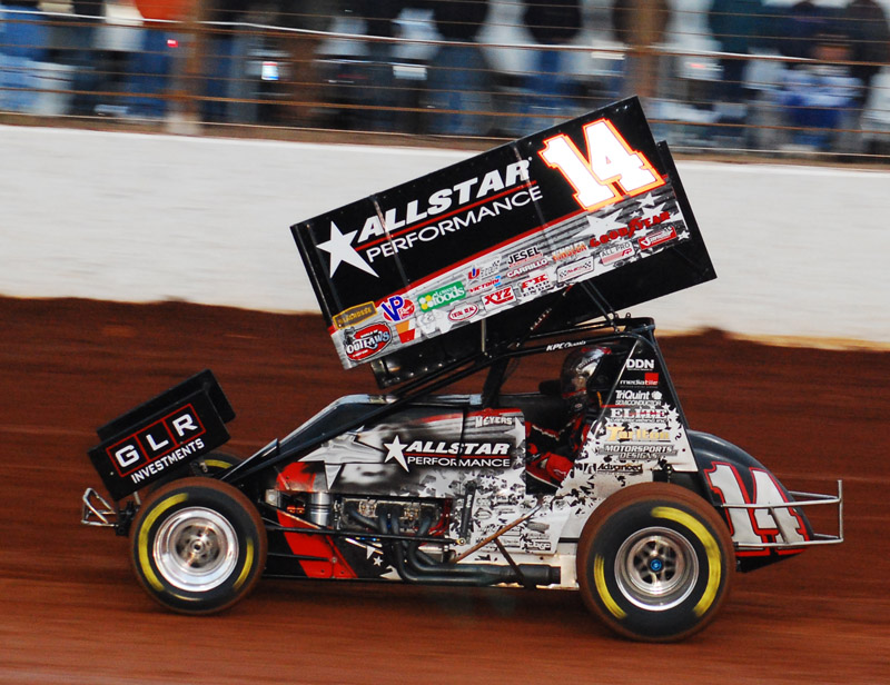 Jason Meyers was on pole for Friday night's World of Outlaws Sprint Car Series feature at Giant Chevrolet Kings Speedway before rain washed out the rest of the program. (Justin Leedy Photo)