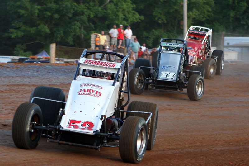 Jon Stanbrough won three of seven races to claim the Indiana Sprint Week title, while Tracy Hines and Brad Kuhn shared the Indiana Midget Week championship. (Gordon Gill Photo)