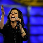 """SING IT, SISTER: Martina McBride hits a high note during her rendition of """"America The Beautiful"""" during the 2010 NASCAR Sprint Cup Series Awards Ceremony Thursday at Wynn Las Vegas. (Rusty Jarrett/Getty Images Photo)"""
