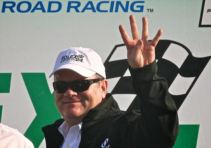 Team owner Chip Ganassi celebrates his fourth Rolex 24 At Daytona triumph. (Grand Am Photo)