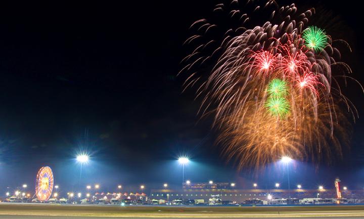Fireworks light up the night Saturday at Daytona Int'l Speedway. (Grand Am Photo)
