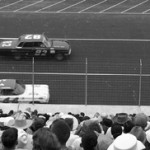 BRISTOL DEBUT: Jim Paschal (44) and Marvin Porter battle side by side as a full house looks on at the first NASCAR race at Bristol (Tenn.) Motor Speedway July 30, 1961. (Chris Economaki Photo)