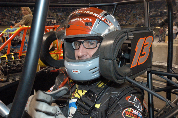 READY TO RUMBLE: Former NASCAR modified champion Ted Christopher straps into his TQ midget prior to Saturday's Gambler's Classic feature at Boardwalk Hall in Atlantic City, N.J. (Bruce A. Bennett Photo)