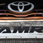 Denny Hamlin's Toyota Camry shows the aftermatch of bump drafting Saturday at Daytona Int'l Speedway. (Jared C. Tilton/Getty Images Photo)