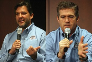 DREAM TEAM: Tony Stewart (left) and Bobby Labonte were on hand Thursday to help Joe Gibbs Racing celebrate its 20th season in the NASCAR Sprint Cup Series. (HHP/Harold Hinson Photos)