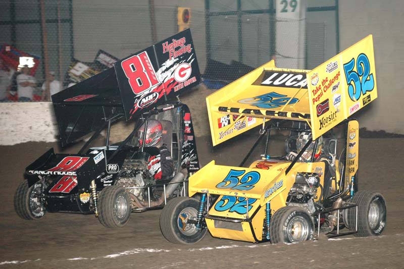 Blake Hahn (52) battles the competition during winged Outlaw micro-sprint action. Hahn was the big winner on the weekend, with feature wins in both the winged Outlaw and Non-Winged Outlaw micro-sprint features.