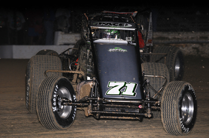 Damion Gardner passed Blake Fitzpatrick on lap two and never looked back en route to winning Saturday night's 30-lap feature. (John DaDalt Photo)