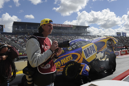 Retired Major League Baseball pitcher spent Saturday on the sidelines as a photographer. (NHRA Photo)