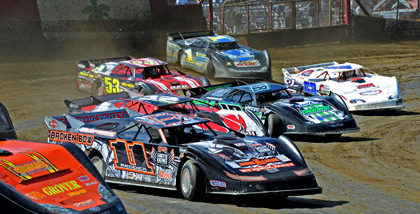 The Lucas Oil Late Model Dirt Series dives into turns one and two during Thursday's makeup feature Saturday morning at East Bay Raceway Park. (Joe Secka/JMS Pro Photo)