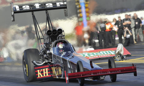 Larry Dixon triumphed in the 2010 Kragen O'Reilly Auto Parts NHRA Nationals at Auto Club Raceway at Pomona, his first of 12 triumphs en route to clinching his third Top Fuel championship. (NHRA Photo)
