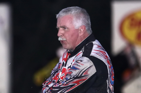EAGLE EYE: Pennsylvania sprint-car veteran Fred Rahmer watches on-track activity prior to Friday night's O'Reilly All Star Circuit of Champions feature at Ocala (Fla.) Speedway. (R.E. Wing Photo)