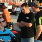 CHIT CHAT: USAC sprint car racers Tracey Hines (center) and Jerry Coons, Jr. (right) talk with Shane Hmiel, who made his first track visit since his October accident, Saturday at Ocala (Fla.) Speedway. (John DaDalt Photo)