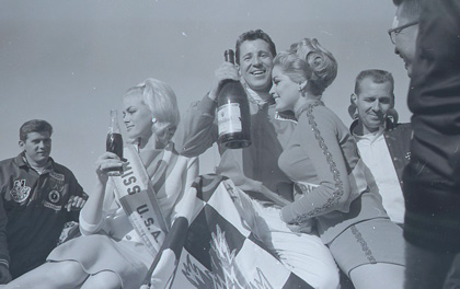 Mario Andretti enjoys the spoils of victory after winning the 1967 Daytona 500.