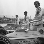 The front row for the 1973 USAC championship Indy car race at Pennsylvania's Pocono Raceway. That's polesitter Peter Revson closest to the camera, with Al Unser in the middle and Mario Andretti on the outside.