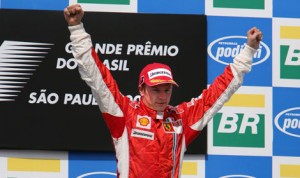 Kimi Raikkonen celebrates clinching the 2007 World Driving Championship with Ferrari. He'll return to the Italian team beginning in 2014. (Steve Etherington photo)
