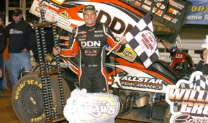 Jason Meyers in victory lane at Friday night's National Open at Pennsylvania's Williams Grove Speedway. (Julia Johnson photo)