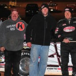 Darrell Lanigan and his team enjoy victory lane at the Winter Freeze at Screven Motor Speedway. (Kevin Kovac photo)