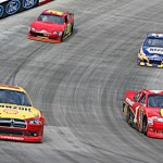 A.J. Allmendinger (22) and Jamie McMurray (1) lead Martin Truex, Jr. and David Stremme Sunday at Bristol (Tenn.) Motor Speedway. (HHP/Alan Marler photo)