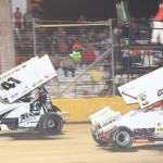 Gary Wright (9) chases Jason Johnson during ASCS sprint car competition at Golden Triangle Raceway Park in Texas. (RonSkinnerPhotos.com)