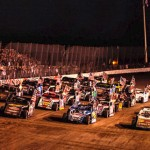 The USMTS modified field lines up four-wide at Oklahoma's Salina Highbanks Speedway. (USMTS photo)