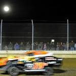A bright moon hovers over Sharon Speedway's regular season opener on a chilly April night. (Joe Secka/JMS Pro photo)