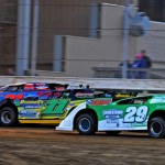 Fastrak late model competitors jockey for position Saturday night at Ohio's Sharon Speedway. (Joe Secka/JMS Pro photo)