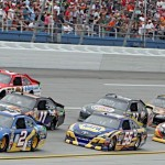 Brad Keselowski (2) leads a pack of cars during the Aaron's 499 at Talladega Superspeedway Sunday. (HHP/Alan Marler Photo)