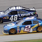 Brad Keselowski (2) and Jimmie Johnson battle for position during the Aaron's 499 at Talladega (Ala.) Superspeedway. (HHP/Alan Marler Photo)