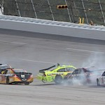 Paul Menard (27) spins at the entrance to turn one late in Sunday's Aaron's 499 at Talladega (Ala.) Superspeedway. (HHP/Alan Marler Photo)