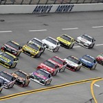 Jimmie Johnson (48) leads early during the Aaron's 499 at Talladega (Ala.) Superspeedway. (HHP/Harold Hinson Photo)