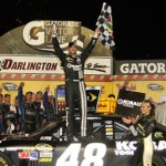Jimmie Johnson celebrates his victory in the Bojangles Southern 500 at Darlington (S.C.) Raceway. (HHP/Christa L. Thomas Photo)