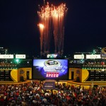 Fireworks go off during driver introductions for the NASCAR Sprint All-Star Race. (HHP/Brian Lawdermilk Photo)