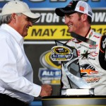 Rick Hendrick congratulates Dale Earnhardt, Jr. on winning the Sprint Showdown Saturday evening. (NASCAR Photo)