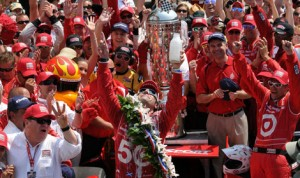 Dario Franchitti celebrates his third victory in the Indianapolis 500 in 2012 Indianapolis Motor Speedway. (Ginny Heithaus Photo)