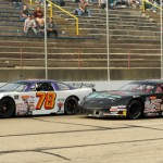 Skyar Holzhausen (78) battles eventual ASA Midwest Tour winner Andrew Morrissey at Madison Int'l Speedway in Wisconsin. (Doug Hornickel photo)