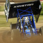 Brian Kristan stands on the gas during IRA sprint car competition at Wilmot (Wis.) Raceway. (Brett Moist photo)