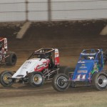 Wes McIntyre, Chad Boesflug, Dave Darland and Jeff Bland race for position at Kokomo (Ind.) Speedway. (Gordon Gill photo)
