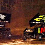 Pete Miller III and Ed Lynch Jr. head to a photo finish at Pennsylvania's Lernerville Speedway. (Hein Brothers photo)